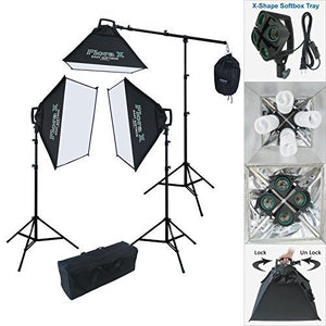 Linco Lincostore 2000 Watt Continuous Photography Video Studio 3 Softbox Boom Stand Digital Video Hair Lighting AM111 -