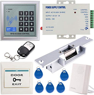 UHPPOTE 125KHz EM-ID Card 1 Door Access Control System Kit with Electric Strike Lock Remote Control