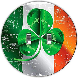Rikki Knight RND-LSPDBL-189 Four Leave Clover Irish Flag Round Design Double Toggle Light Switch Plate