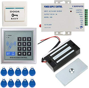 UHPPOTE Full Complete 125KHz EM-ID Card Door Access Control System Kit With 130LB Magnetic Lock Power Supply Exit Button