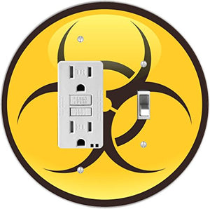 Rikki Knight RND-GFITOGGLE-198 Biohazard Sign Round GFI Toggle Light Switch Plate, Yellow/Black