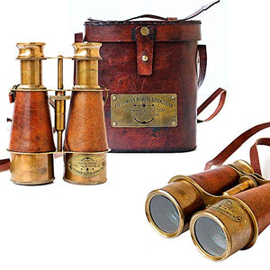 Antique Victorian Marine Brass Leather Binocular Sailor Instrument London 1915 (Orange)