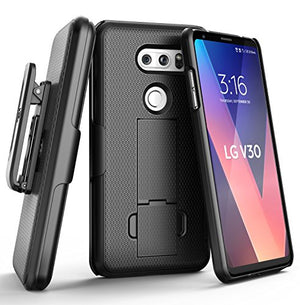 Encased LG V30 Belt Clip Holster Case, Thin Fit [DuraClip Series] Slim Grip Case & Belt Clip (Smooth Black)