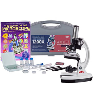 AmScope 1200X 40-pcs Kids Student Beginner Microscope Kit with Slides, LED Light, Carrying Box and Book