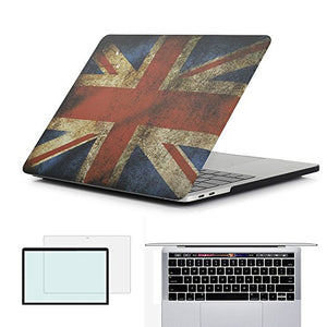 RYGOU UK Flag Pattern Hard Case with Keyboard Cover Screenguard Compatible Newest MacBook Pro 13 Inch with Touch Bar Model:A1706 A1989