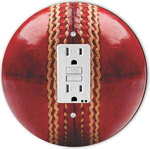 Rikki Knight RND-GFISINGLE-207 Cricket Ball Round Single GFI Light Switch Plate, Red
