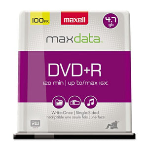 MAX639016 Maxell DVD+R Discs 4.7GB 16x Spindle Silver 100/Pack