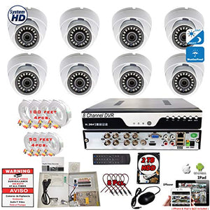 Evertech 8 Channel Security Camera System 2TB Hard Drive 1080P HD Indoor Outdoor Weatherproof CCTV Dome Cameras 3.6mm Fixed Lens