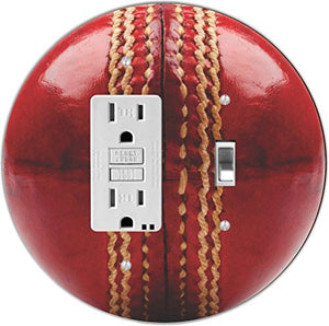 Rikki Knight RND-GFITOGGLE-207 Cricket Ball Round GFI Toggle Light Switch Plate, Red