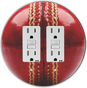 Rikki Knight RND-GFIDOUBLE-207 Cricket Ball Round Double GFI Light Switch Plate, Red