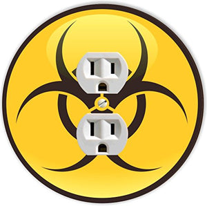 Rikki Knight RND-OUTLET-198 Biohazard Sign Round Single Outlet Plate, Yellow/Black