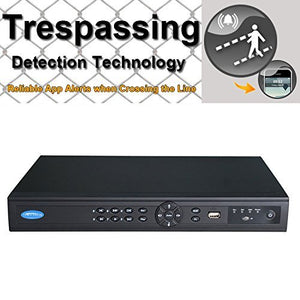 OWLTECH 16 Channel Trespassing Detection NVR up to 5MP Resolution + 8 POE built in Port + HDMI VGA BNC Output + True P2P Remote View for CMS IE APP