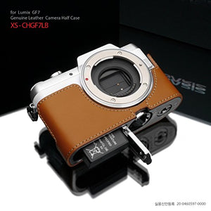 Gariz Genuine Leather XS-CHGF7LB Camera Metal Half Case for Panasonic Lumix GF7 DMC-GF7, Light Brown