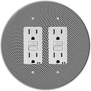 Rikki Knight RND-GFIDOUBLE-195 Stripe Toothshound Ball Round Double GFI Light Switch Plate, Black/White