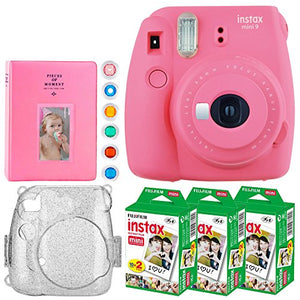 Fujifilm instax Mini 9 Instant Film Camera + Fujifilm Instax Mini Instant (60 Shots) + Hard Case with Glitter + 6 Colored Lens Filters + Large Album  Accessory Bundle (Deluxe Bundle, Flamingo Pink)