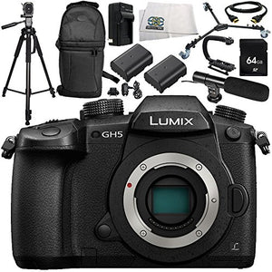 Panasonic Lumix DC-GH5 Mirrorless Micro Four Thirds Digital Camera 13PC Accessory Bundle  Includes 64GB SD Memory Card + More - International Version (No Warranty)