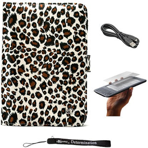 Leopard Print on Premium Nylon Flip Portfolio Protection Cover Case for Amazon Kindle 3 (WiFi 3rd Generation) and Anti Glare Screen Protector Guard Includes a USB Data Sync Cable for Kindle 3