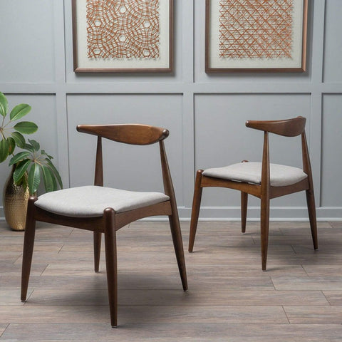 Francie Dark Beige Fabric with Walnut Finish Dining Chairs