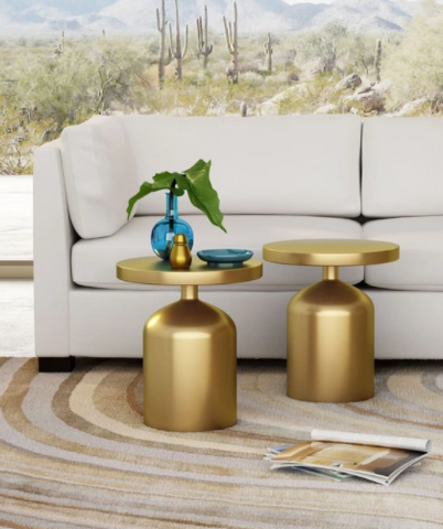 CAESAR BRASS ACCENT SIDE TABLE