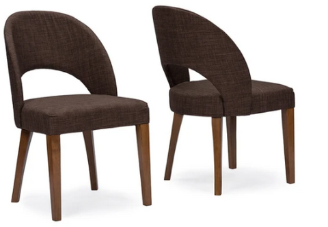 GEORGE MID-CENTURY BROWN FABRIC DINING CHAIR SET