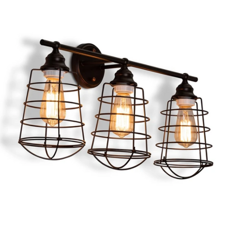LEVI VINTAGE INDUSTRIAL DARK BRONZE METAL 3-LIGHT CAGE WALL SCONCE LAMP