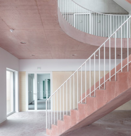 chunky, pink concrete staircase