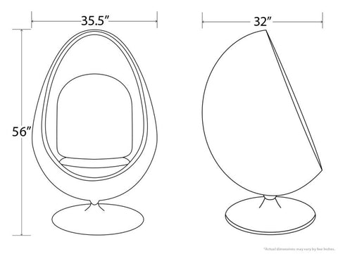 egg pod chair dimensions