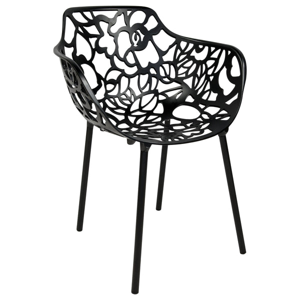 Desire Black Aluminum Side Armchair - living-essentials