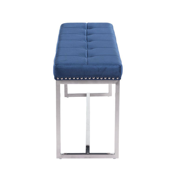 Symphony Cobalt Velvet Blue Bench - living-essentials
