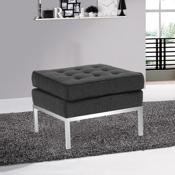 Knoll Style Grey Wool Ottoman - living-essentials