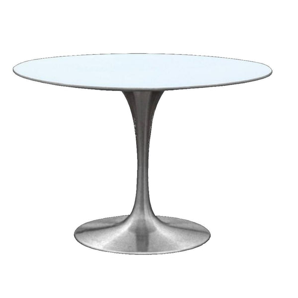 "Tulip Style 30"" Silver Fiberglass Dining Table - living-essentials"