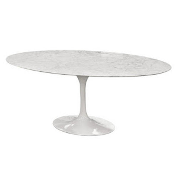 "Tulip Style 60"" Solid Marble Oval Dining Table - living-essentials"