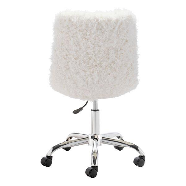 Corri Sherpa Faux Ivory Fur Office Chair - living-essentials