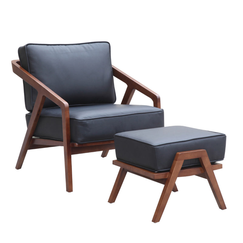 Jens Risom Style Grey Lounge Chair and Ottoman - living-essentials