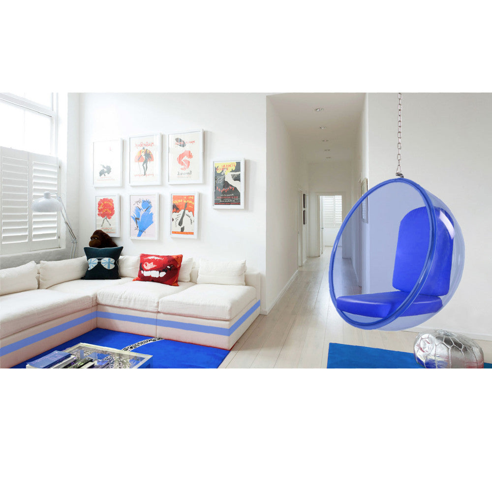 Eero Aarnio Style Blue Acrylic Hanging Bubble Chair - EMFURN