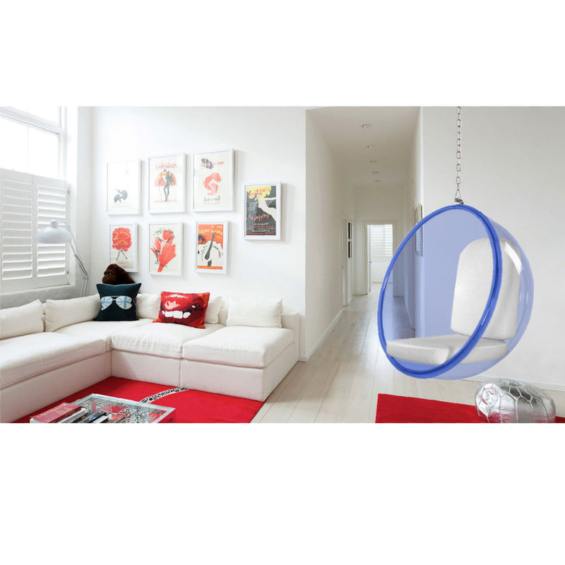 Eero Aarnio Style Blue Acrylic Hanging Bubble Chair - living-essentials