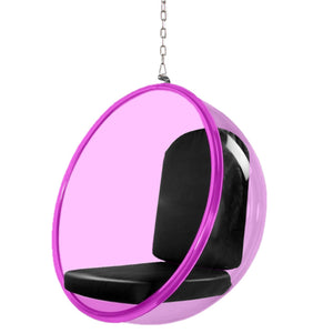 Eero Aarnio Style Pink Acrylic Hanging Bubble Chair 42H X 41W 32D / Black Chairs Free Shipping