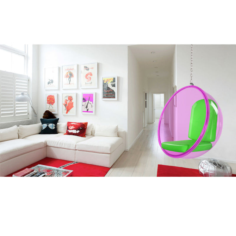 Eero Aarnio Style Pink Acrylic Hanging Bubble Chair - living-essentials