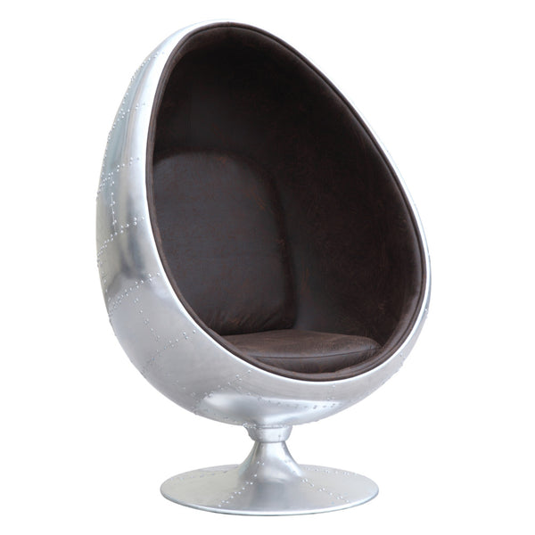 Egg Pod Style Silver Aviator Lounge Chair - living-essentials
