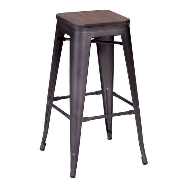 Tolix Style Rustic Wood Bar Stool - living-essentials