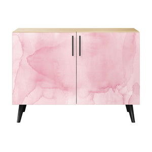Pink Splash Credenza Natural/natural / Dowell Cabinet Free Shipping