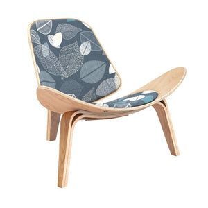 Wegner Style Botanical Blues Shell Chair Black Chairs Free Shipping