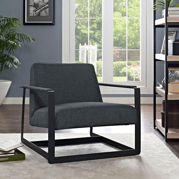 Sabrina Gray Fabric Reception Armchair - living-essentials