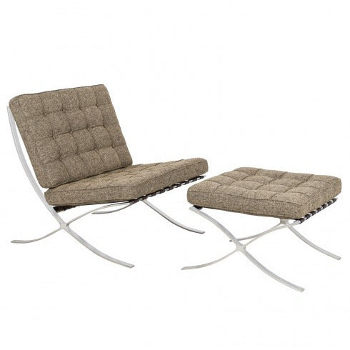 Barcelona Wool Style Chair & Ottoman - living-essentials