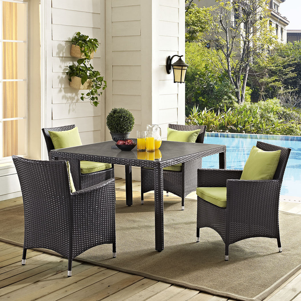 Berkeley 47 Espresso Square Outdoor Patio Glass Top Dining Table Free Shipping