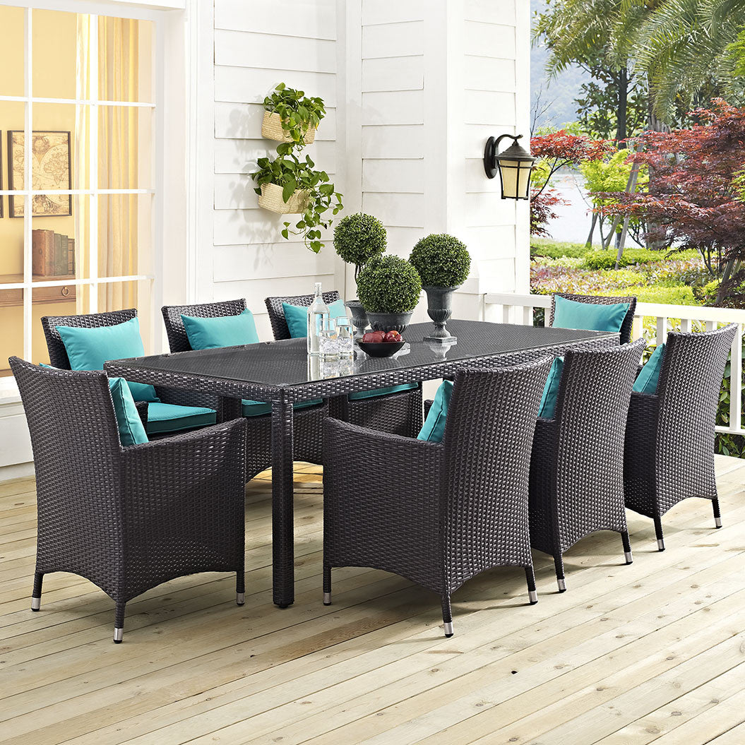 Berkeley 82 Espresso Outdoor Patio Dining Table Free Shipping