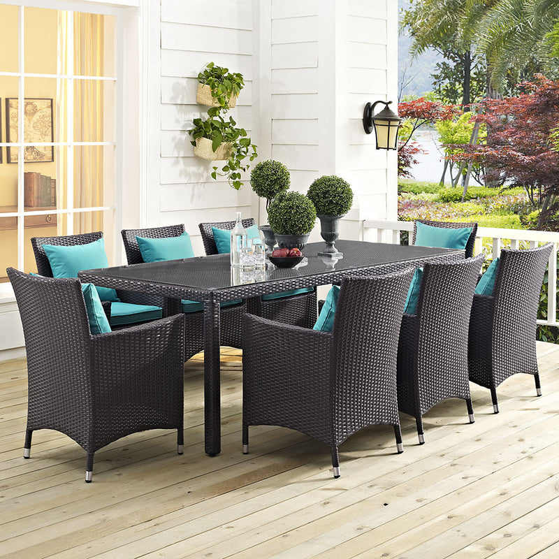 "Berkeley 82"" Espresso Outdoor Patio Dining Table - living-essentials"