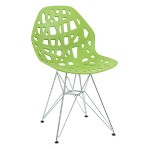 Akira Green Dining Chair with Chrome Legs