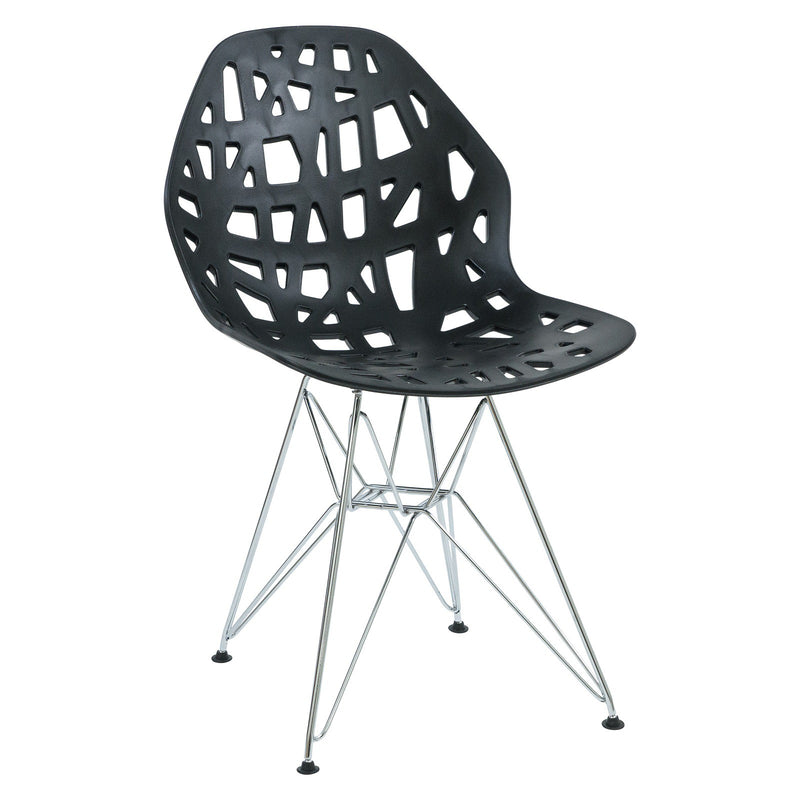 Akira Black Chair with Chrome Legs - living-essentials