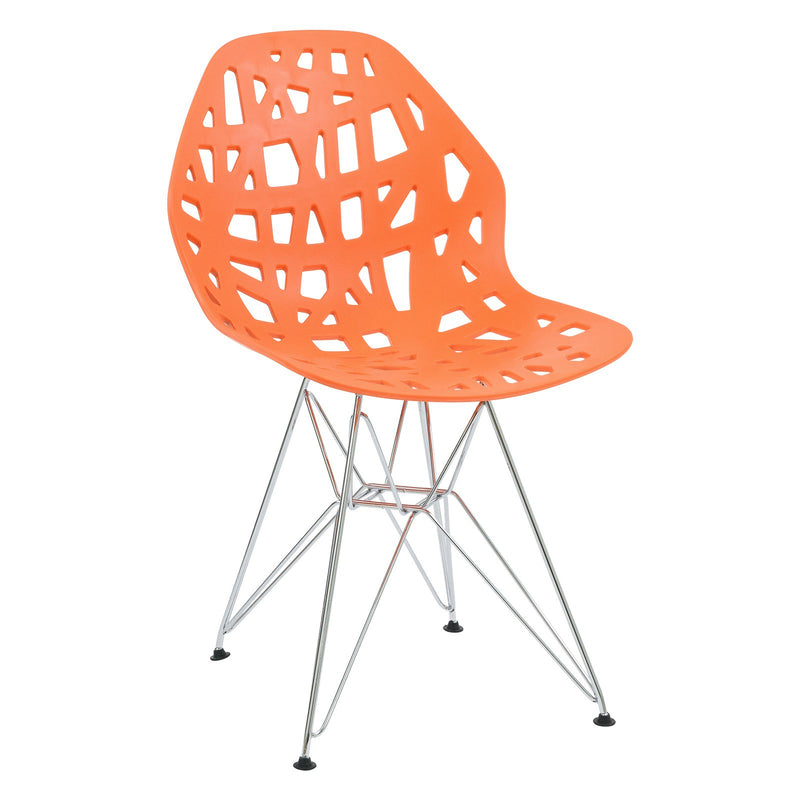 Akira Orange Chair with Chrome Legs - living-essentials